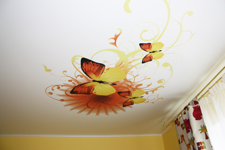 Матовый натяжной потолок с фотопечатью